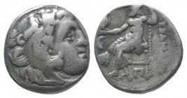 "Kings of Macedon . Alexander III. ""The Great"" (336-323 BC). AR Drachm  Condition: Very Fine  Weight: 3.80 gr Diameter: 16 mm"