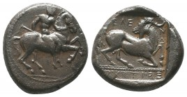 Kelenderis , Cilicia. AR Stater c. 350-330 BC. Obv. Nude youth, holding whip in right hand, dismounting from horse rearing right. Rev. Goat kneeling r...