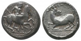 Kelenderis , Cilicia. AR Stater c. 350-330 BC. Obv. Nude youth, holding whip in right hand, dismounting from horse rearing right. Rev. Goat kneeling l...