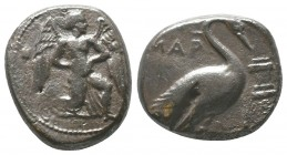 CILICIA. Mallos. Circa 440-390 BC. Stater.. MAΛP Winged male figure advancing right, holding solar disk with both hands. Rev. MAP Swan standing right;...
