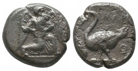 CILICIA, Mallos. Circa 425-385 BC. AR Stater . Beardless male, winged, kneeling right, holding solar disk with both hands; sceptre to left / Swan stan...