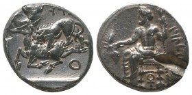 Mazaios , Satrap of Cilicia (361/0-334 BC). AR Stater. Tarsos. Obv. B'LTRZ, Baaltars seated left on backless throne, his body turned to front, holding...