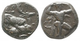 Cyprus, Kition AR Stater. Baalmelek II, circa 425-400 BC. Herakles in fighting stance to right, wearing lion skin upon his back and tied around neck, ...