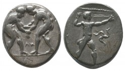 Aspendos, Pamphylia. AR Stater. c. 380-325 BC. Obv. Two wrestlers; between them,  Rev. EΣTFEΔIIY, slinger to right, triskeles in right field.  Conditi...