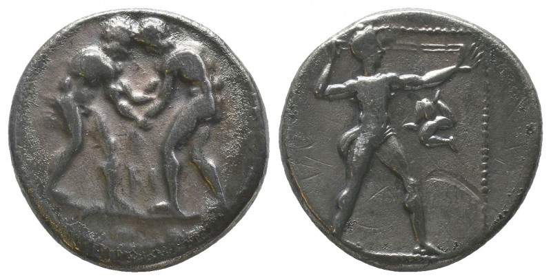 Aspendos, Pamphylia. AR Stater. c. 380-325 BC. Obv. Two wrestlers; between them,...
