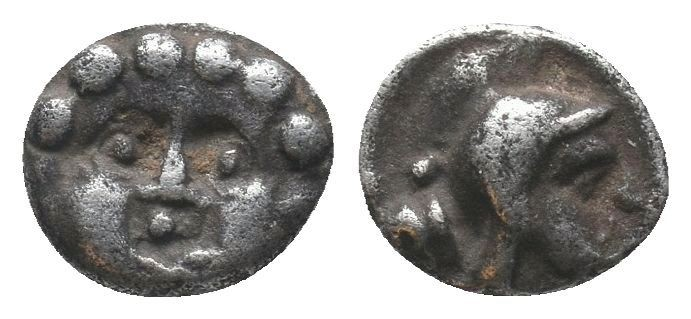 Selge AR Obol, head of Gorgoneion/head of Athena  Condition: Very Fine  Weight: ...