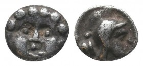 Selge AR Obol, head of Gorgoneion/head of Athena  Condition: Very Fine  Weight: 0.90 gr Diameter: 9 mm