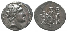 Seleukid Kings of Syria. Alexander I AR Drachm. Antioch, circa 152-145 BC. Diademed head of Antiochos right / Apollo seated left, on omphalos.  Condit...