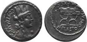 M. Plaetorius M. f. Cestianus AR Denarius. Rome, 67 BC. Turreted bust of Cybele right; CESTIANVS behind; globe under chin / Curule chair; symbol to le...