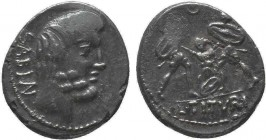 L. Titurius L.f. Sabinus, 89 BC. Denarius, Rome. SABIN Bare-headed and bearded head of King Titus Tatius to right; below, palm branch. Rev. L•TITVRI T...