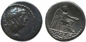 M. Cato 89 BC. Rome AR . [M·CATO], Ivy-wreathed head of Liber right / Victory seated right, holding patera in right hand and palm branch in left; in e...