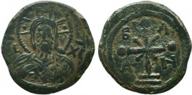 CRUSADERS. Edessa. Baldwin I, 1098-1100. Follis. Facing bust of Christ Pantokrator, with cross nimbus and wearing tunic. Rev. B-A/Δ-N Jewelled cross w...
