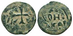 CRUSADERS, Edessa. Richard of Salerno. Regent, 1104-1108. Æ Follis Class 2. Cross pattée; pellet at end of each crossbar; wedges in quarters / KЄ/BOHΘ...