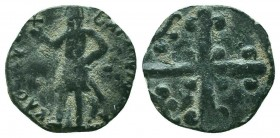 CRUSADERS, Edessa. Baldwin II. Second reign, 1108-1118. Æ Follis, Light issue. Baldwin standing left, wearing nasal helmet and coat of mail, holding g...