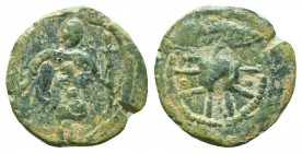 CRUSADERS. Baldwin II. 1108-1118 AD.AE Follis. Edessa mint.RARE COIN  Condition: Very Fine  Weight: 3.30 gr Diameter: 20 mm