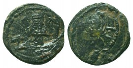 CRUSADERS. Baldwin II. 1108-1118 AD.AE Follis. Edessa mint.RARE COIN  Condition: Very Fine  Weight: 3.10 gr Diameter: 20 mm