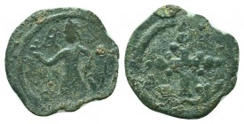 CRUSADERS. Baldwin II. 1108-1118 AD.AE Follis. Edessa mint.RARE COIN  Condition: Very Fine  Weight: 3.20 gr Diameter: 20 mm