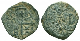 CRUSADERS.Tancred, 1112-1119 AD.AE Follis. Very RARE overstruck  Condition: Very Fine  Weight: 3.00 gr Diameter: 21 mm