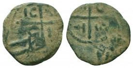 CRUSADERS.Tancred, 1112-1119 AD.AE Follis. Very RARE overstruck  Condition: Very Fine  Weight: 3.00 gr Diameter: 22 mm
