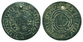 Medieval Bronze Token , 1039-1125 AD.  Condition: Very Fine  Weight: 1.20 gr Diameter: 23 mm