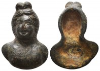 Ancient Roman bronze applique bust of goddess, 1st - 2nd Century A.D  Condition: Very Fine  Weight: 30.00 gr Diameter: 42 mm