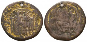 Byzantine Empire, Gold Plated Medallion, Circa 5th-7th Century AD.  Condition: Very Fine  Weight: 5.20 gr Diameter: 29 mm