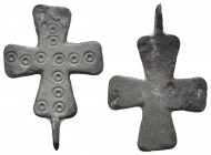 "Crusader/Medieval Europe, c. 9th-13th century AD. Beautiful bronze Crusader-cross pendant. Decorated with 2 sets of punched-dot ""Five Wounds of Christ..."