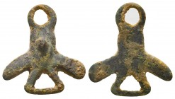 Ancient Rome, 1st-5th century AD, Bronze phallic amulet  This amulet incorporates three different symbols: the phallus, male genitalia, and the mano f...