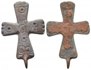 "Crusader Europe, c. 8th-11th century AD. Great bronze cross pendant. Decorated with punched-dot ""Evil Eye"" protective motif.  Condition: Very Fine  We..."