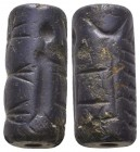 Pre-historic Dark Blue Cylinder Seal, Mesopotamia, Neo-Assyrian, ca. 900 - 700 B.C  Condition: Very Fine  Weight: 8.80 gr Diameter: 23 mm