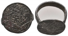 Byzantine Empire, c. 8th-12th century. Large Decorated Ring,  Condition: Very Fine  Weight: 4.60 gr Diameter: 18 mm