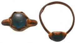 Byzantine Empire, c. 8th-12th century. Blue stone inlaid bronze ring !  Condition: Very Fine  Weight: 0.70 gr Diameter: 19 mm