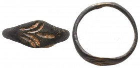 Byzantine Empire, c. 8th-12th century. Bronze seal ring !  Condition: Very Fine  Weight: 1.30 gr Diameter: 17 mm