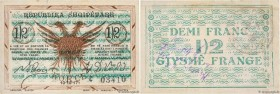 Country : ALBANIA  Face Value : 0,50 Franc  Date : 10 octobre 1917  Period/Province/Bank : Occupation Française  Department : Koritza  Catalogue refer...