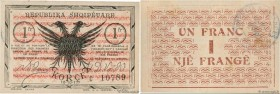 Country : ALBANIA  Face Value : 1 Franc  Date : 10 octobre 1917  Period/Province/Bank : Occupation Française  Department : Koritza  Catalogue referenc...