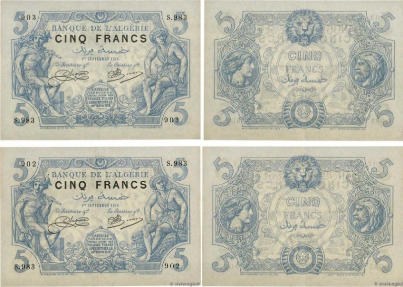 Country : ALGERIA  Face Value : 5 Francs Consécutifs  Date : 01 septembre 1916  ...