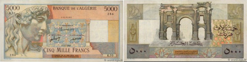 Country : ALGERIA  Face Value : 5000 Francs  Date : 22 janvier 1947  Period/Prov...