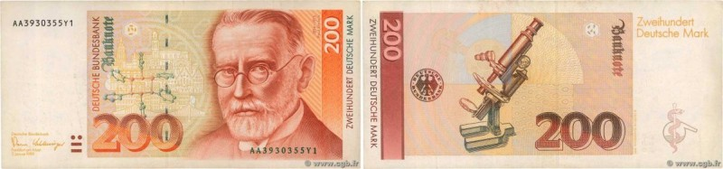 Country : GERMAN FEDERAL REPUBLIC  Face Value : 200 Deutsche Mark  Date : 02 jan...