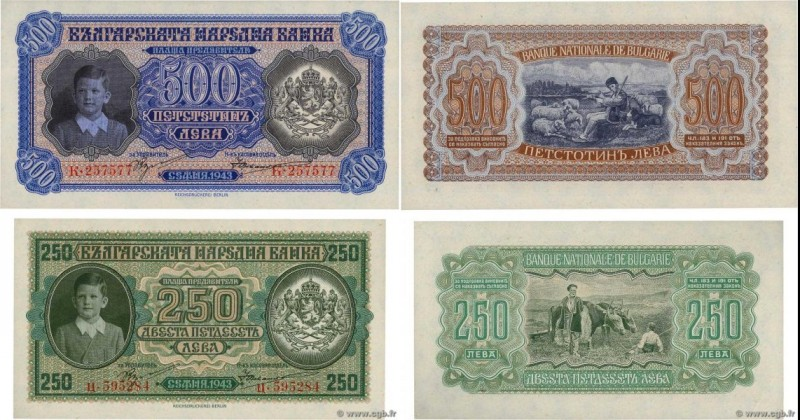 Country : BULGARIA  Face Value : 250 et 500 Leva Lot  Date : 1943  Period/Provin...