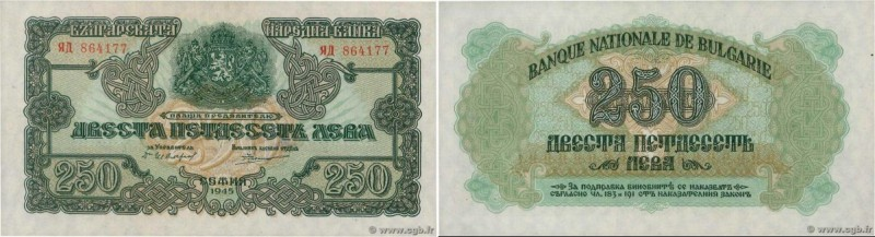Country : BULGARIA  Face Value : 250 Leva  Date : 1945  Period/Province/Bank : B...
