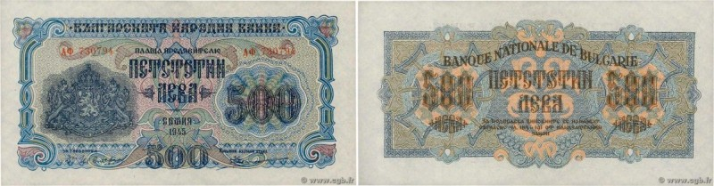Country : BULGARIA  Face Value : 500 Leva  Date : 1945  Period/Province/Bank : B...