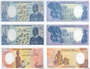 Country : CENTRAL AFRICAN REPUBLIC  Face Value : 500 et 1000 Francs Lot  Date : 1985-1989  Period/Province/Bank : B.E.A.C.  Department : République Ce...