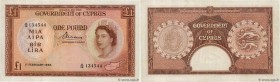 Country : CYPRUS  Face Value : 1 Pound  Date : 01 février 1956  Period/Province/Bank : Government of Cyprus  Catalogue reference : P.35a  Alphabet - s...