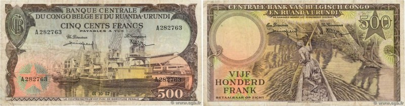 Country : BELGIAN CONGO  Face Value : 500 Francs  Date : 01 octobre 1957  Period...