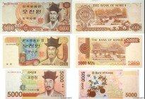 Country : SOUTH KOREA  Face Value : 5000 Won Lot  Date : (1977-1983-2006)  Period/Province/Bank : The Bank of Korea  Catalogue reference : P.45, P.48 ...
