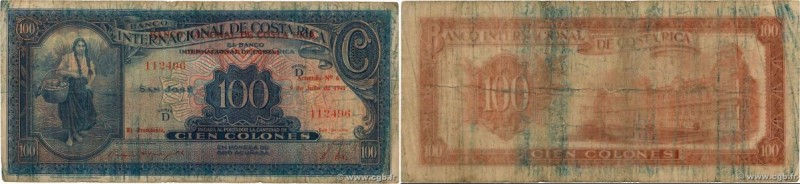 Country : COSTA RICA  Face Value : 100 Colones  Date : 09 juillet 1941  Period/P...