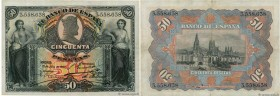 Country : SPAIN  Face Value : 50 Pesetas  Date : 15 juillet 1907  Period/Province/Bank : Banco de Espana  Catalogue reference : P.63a  Alphabet - sign...
