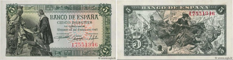 Country : SPAIN  Face Value : 5 Pesetas  Date : 15 juin 1945  Period/Province/Ba...