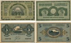 Country : ESTONIA  Face Value : 3 et 5 Marka Lot  Date : 1919  Period/Province/Bank : Republic of Estonia Treasury Notes  Catalogue reference : P.44 a...