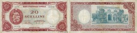 Country : SOMALIA  Face Value : 20 Scellini  Date : 1962  Period/Province/Bank : Banca Nazionale Somala  Catalogue reference : P.3a  Alphabet - signat...